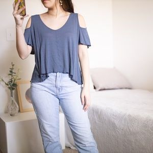 Free People Blue Gray Cut Out Sleeve Top